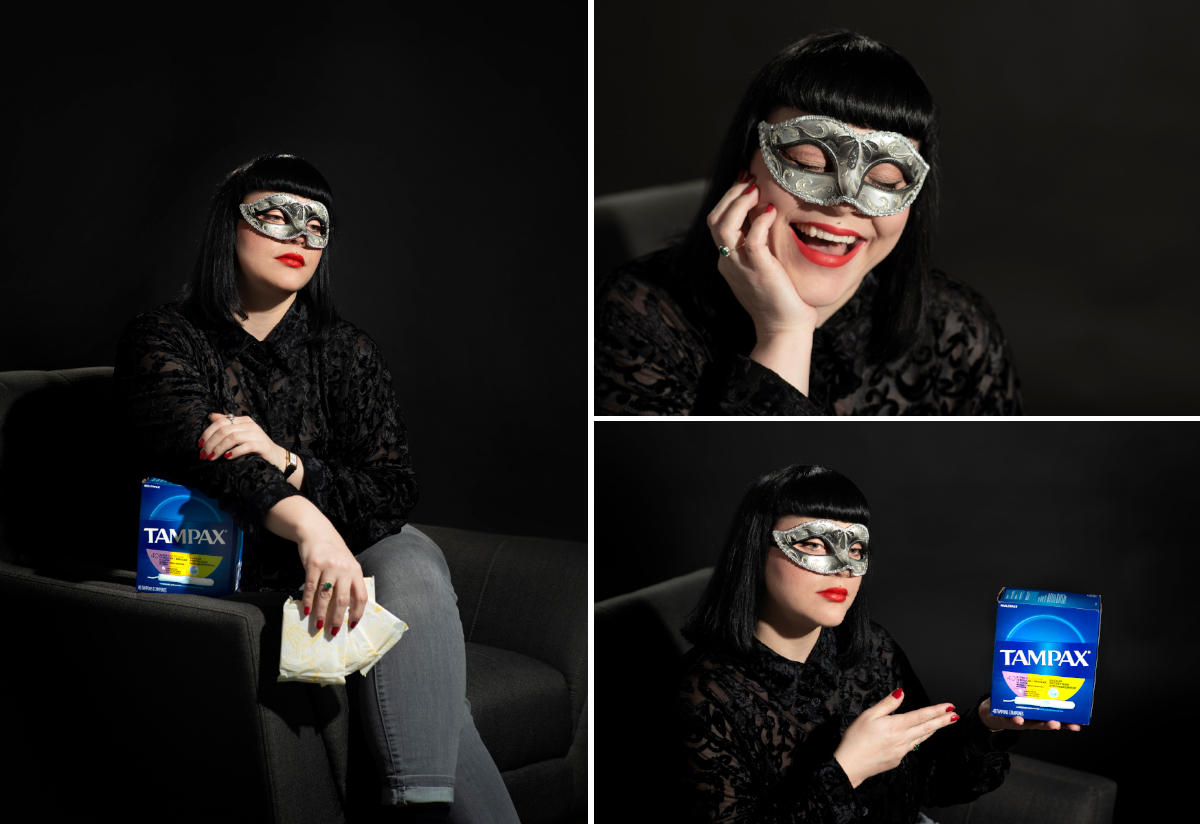 Dramatic portraits of masked woman with hygiene products